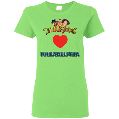 Three Stooges Love Philadelphia Ladies Heart T-Shirt