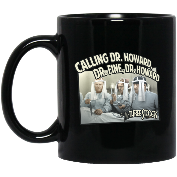Three Stooges 11 Oz. Black Mug - Doctors - Free Shipping