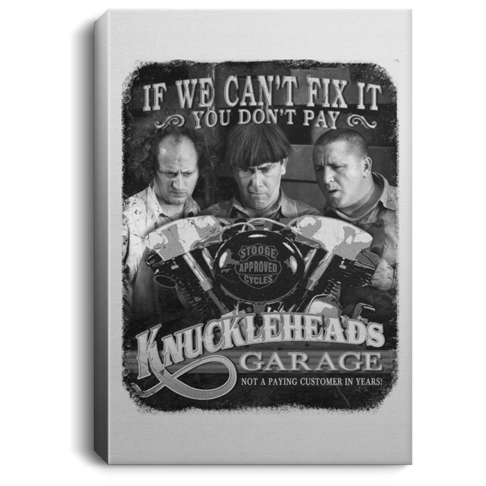 Three Stooges Knuckleheads Garage Portrait Canvas .75In Frame