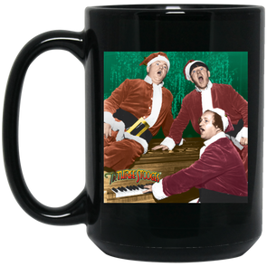 Three Stooges Christmas Large 15 Oz. Black Mug - Free Shipping