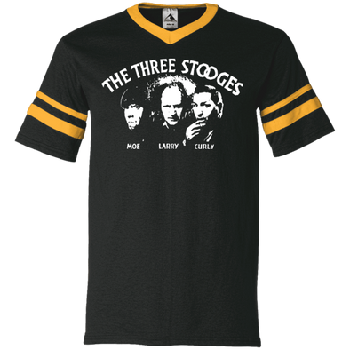 Three Stooges V-Neck Sleeve Stripe T-Shirt