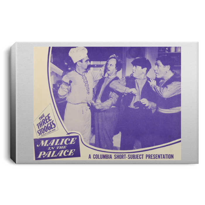 Three Stooges Malice In The Palace Lobby Card Portrait Canvas .75In Frame