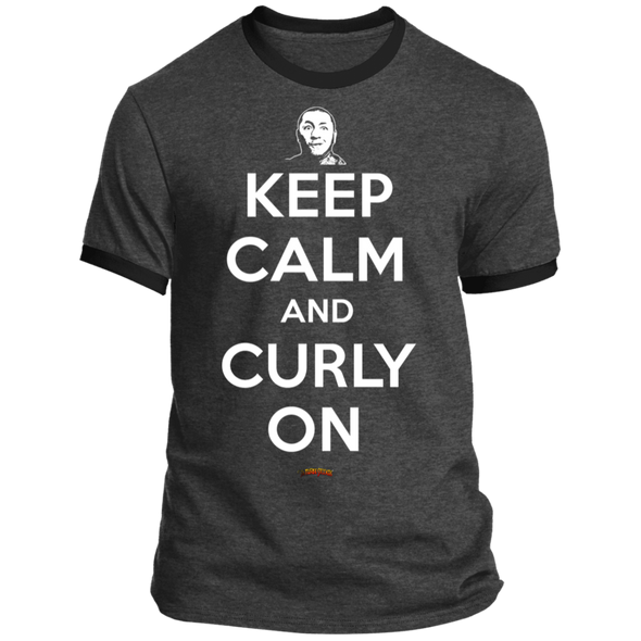 Three Stooges Keep Calm And Curly On Ringer Tee Shirt