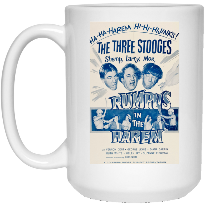 Three Stooges Rumpus Lobby Card Large 15 Oz. White Mug - Free Shipping