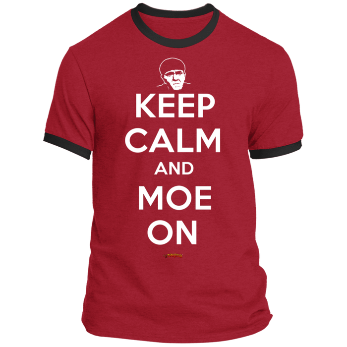 Three Stooges Keep Calm And Moe On Ringer Tee Shirt