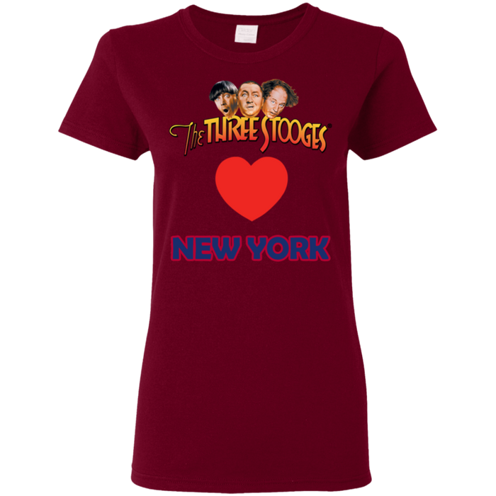 Three Stooges Love New York Ladies Heart T-Shirt