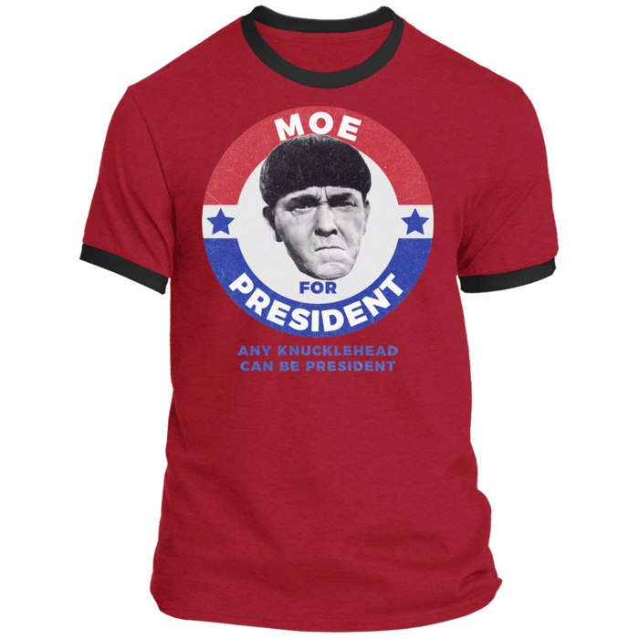 Three Stooges Moe For President Ringer T-Shirt