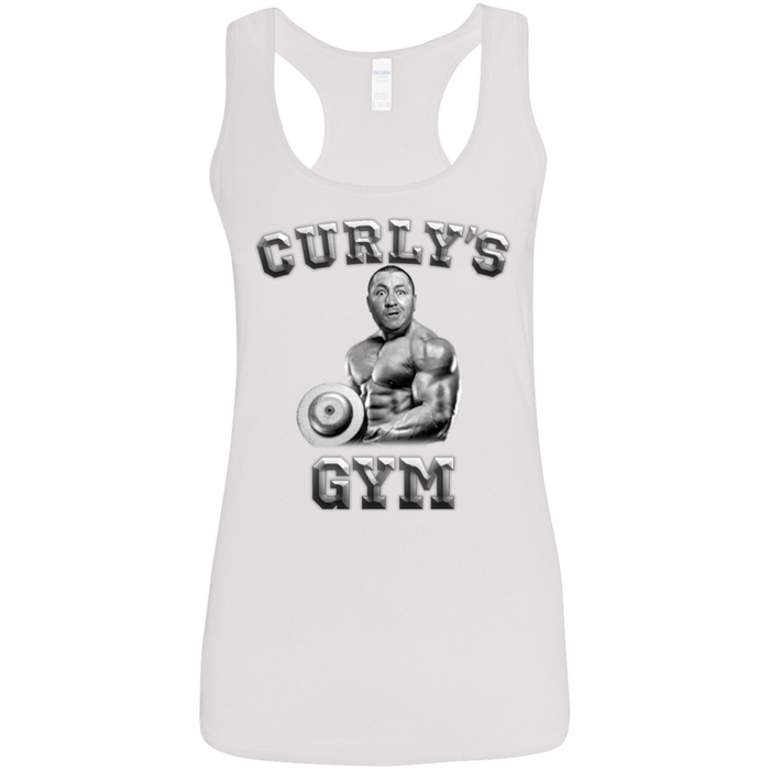 Three Stooges Curly's Gym Ladies' Softstyle Racerback Tank Top