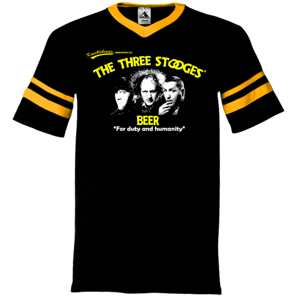 Three Stooges Beer V-Neck Sleeve Stripe T-Shirt