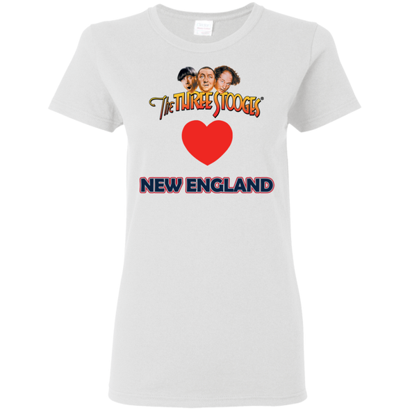 Three Stooges Love New England Ladies Heart T-Shirt