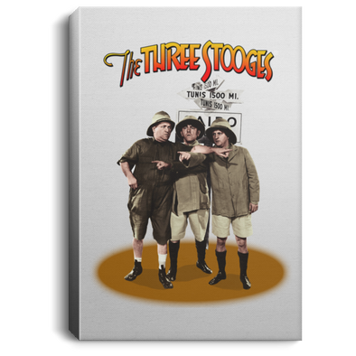 Three Stooges Safari Pointing Portrait Canvas .75In Frame