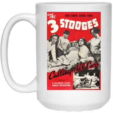 Three Stooges Calling All Curs Lobby Card 15 oz. Large Coffee Mug - FREE SHIPPING