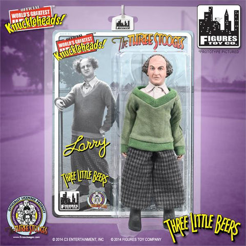 "The Three Stooges Action Figure: Three Little Beers Larry 8"" - READY TO SHIP"