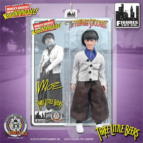 "The Three Stooges Action Figure: Three Little Beers Moe 8"" - READY TO SHIP"
