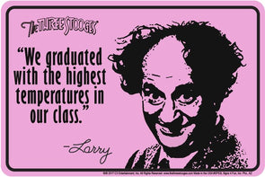 The Three Stooges Parking Tin Sign: Larry Graduated - READY TO SHIP