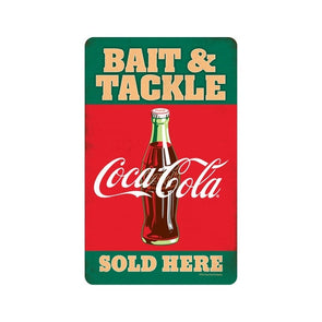 Coca-Cola Vintage Retro Bait and Tackle Metal Tin Wall Art