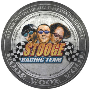 The Three Stooges Round Tin Sign: Stooge Racing Team - READY TO SHIP