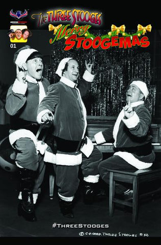 The Three Stooges Comic Book Series 5 / Cover 4: Merry Stoogemas - RARE B&W - READY TO SHIP