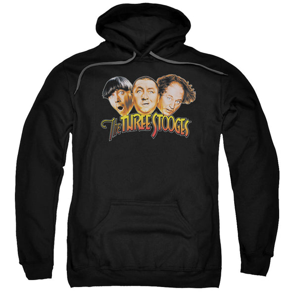 THREE STOOGES/THREE HEAD LOGO-ADULT PULL-OVER HOODIE-BLACK