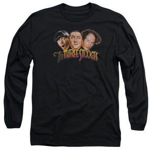 THREE STOOGES/THREE HEAD LOGO - L/S ADULT 18/1 - BLACK