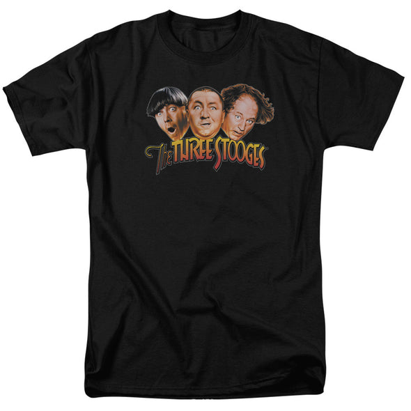 Three Stooges/Three Head Logo - S/S Adult 18/1 - Black