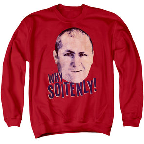 THREE STOOGES/WHY SOITENLY - ADULT CREWNECK SWEATSHIRT - RED