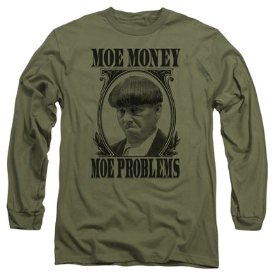 Three Stooges Long Sleeve Shirt: Moe Money - Military Green