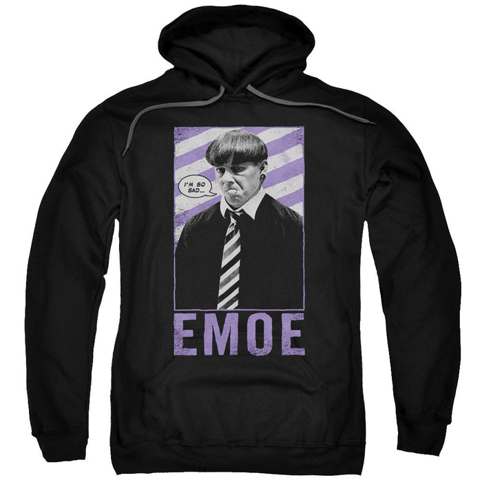 Three Stooges/Emoe-Adult Pull-Over Hoodie-Black