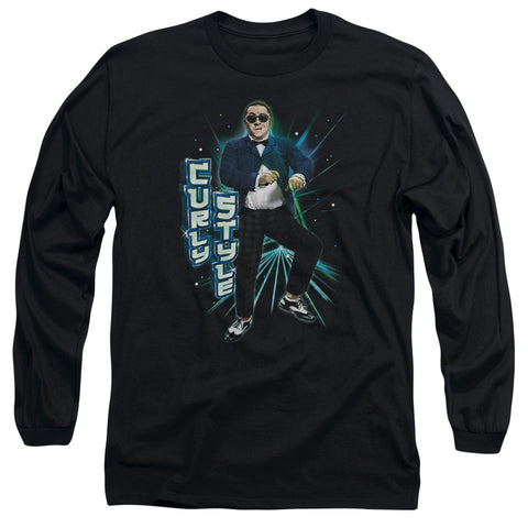 THREE STOOGES/CURLY STYLE - L/S ADULT 18/1 - BLACK