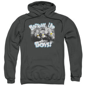 THREE STOOGES/BOTTOMS UP-ADULT PULL-OVER HOODIE-CHARCOAL