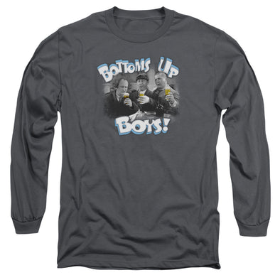 THREE STOOGES/BOTTOMS UP - L/S ADULT 18/1 - CHARCOAL