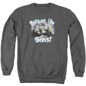 Three Stooges Bottoms Up - Adult Crewneck Sweatshirt - Charcoal