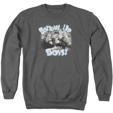 THREE STOOGES/BOTTOMS UP - ADULT CREWNECK SWEATSHIRT - CHARCOAL
