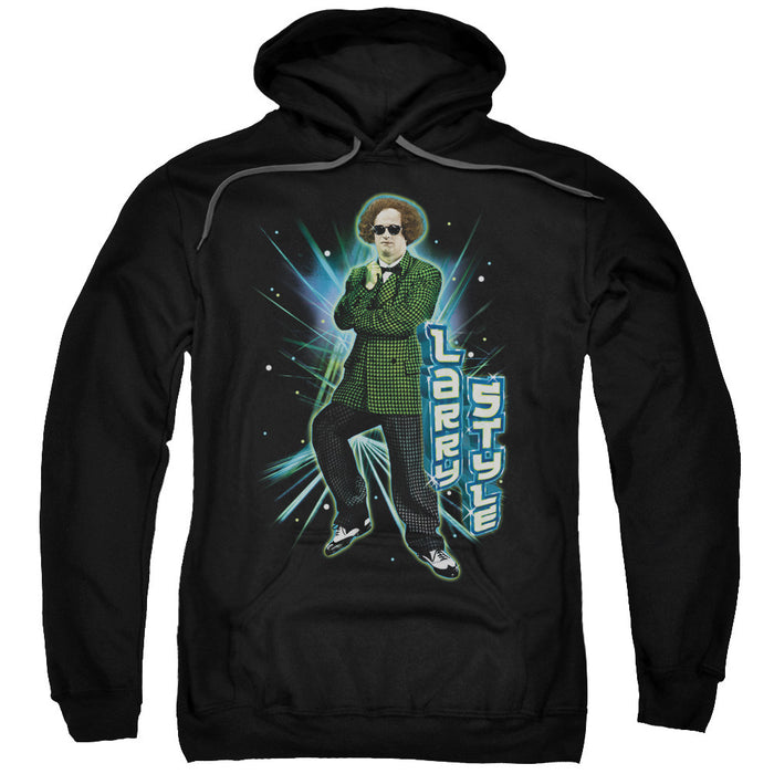 Three Stooges/Larry Style-Adult Pull-Over Hoodie-Black