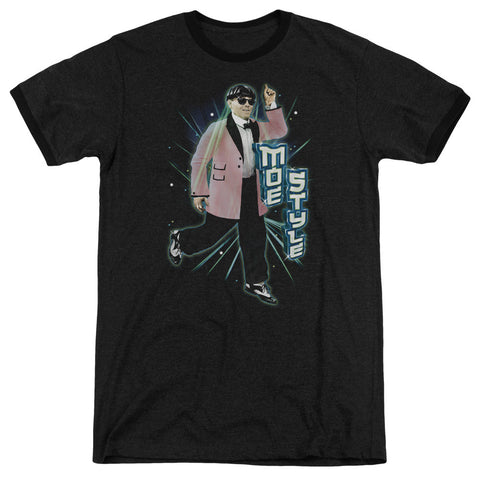 THREE STOOGES/MOE STYLE - ADULT HEATHER RINGER - BLACK