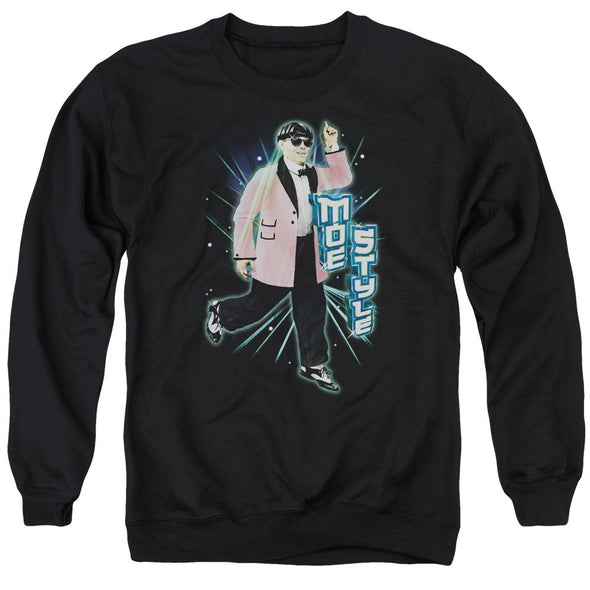Three Stooges/Moe Style - Adult Crewneck Sweatshirt - Black