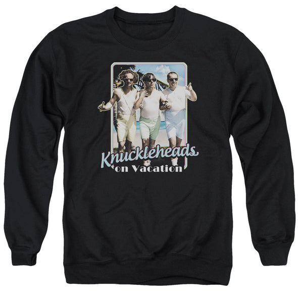 THREE STOOGES/KNUCKLESHEADS ON VACATION - ADULT CREWNECK SWEATSHIRT - BLACK