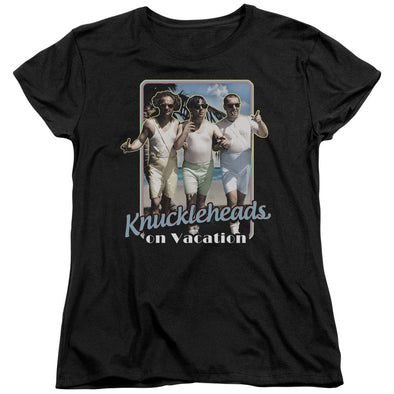Three Stooges/Knucklesheads On Vacation - S/S Women'S Tee - Black