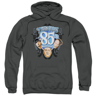 THREE STOOGES/85TH ANNIVERSARY 2-ADULT PULL-OVER HOODIE-CHARCOAL