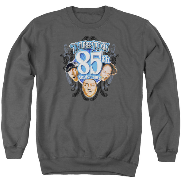 THREE STOOGES/85TH ANNIVERSARY 2 - ADULT CREWNECK SWEATSHIRT - CHARCOAL