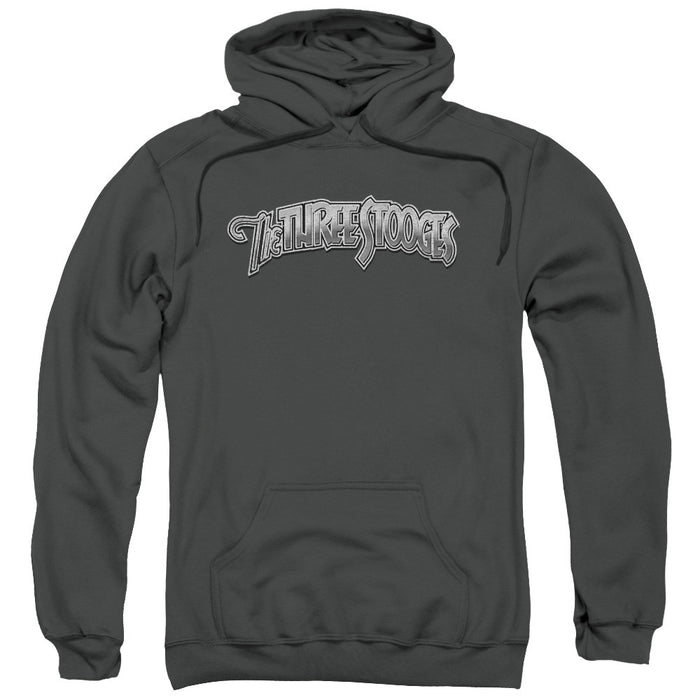 Three Stooges/Metallic Logo-Adult Pull-Over Hoodie-Charcoal