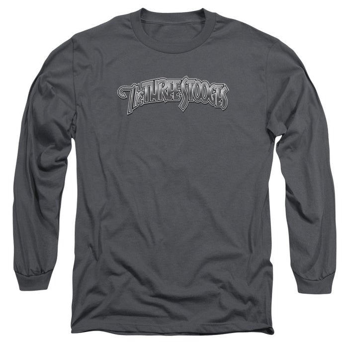 Three Stooges/Metallic Logo - L/S Adult 18/1 - Charcoal