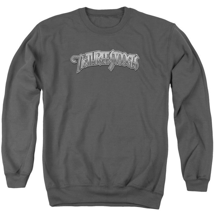 Three Stooges/Metallic Logo - Adult Crewneck Sweatshirt - Charcoal