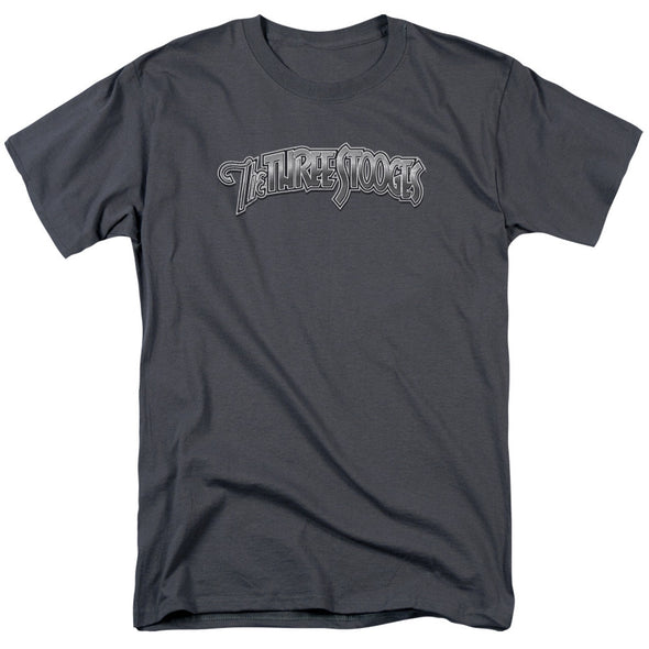 THREE STOOGES/METALLIC LOGO - S/S ADULT 18/1 - CHARCOAL
