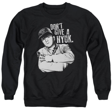 THREE STOOGES/GIVE A NYUK - ADULT CREWNECK SWEATSHIRT - BLACK