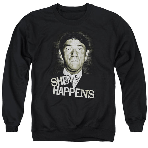 THREE STOOGES/SHEMP HAPPENS - ADULT CREWNECK SWEATSHIRT - BLACK - Allow 3-5 business days processing time