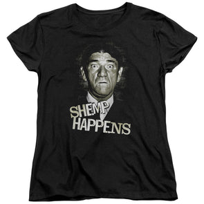 THREE STOOGES/SHEMP HAPPENS - S/S WOMEN'S TEE - BLACK - Allow 3-5 business days processing time