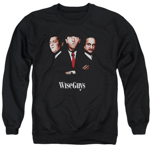 THREE STOOGES/WISEGUYS - ADULT CREWNECK SWEATSHIRT - BLACK