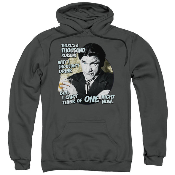THREE STOOGES/DRINK-ADULT PULL-OVER HOODIE-CHARCOAL