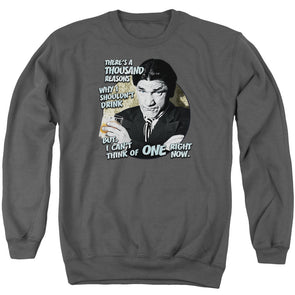 THREE STOOGES/DRINK - ADULT CREWNECK SWEATSHIRT - CHARCOAL
